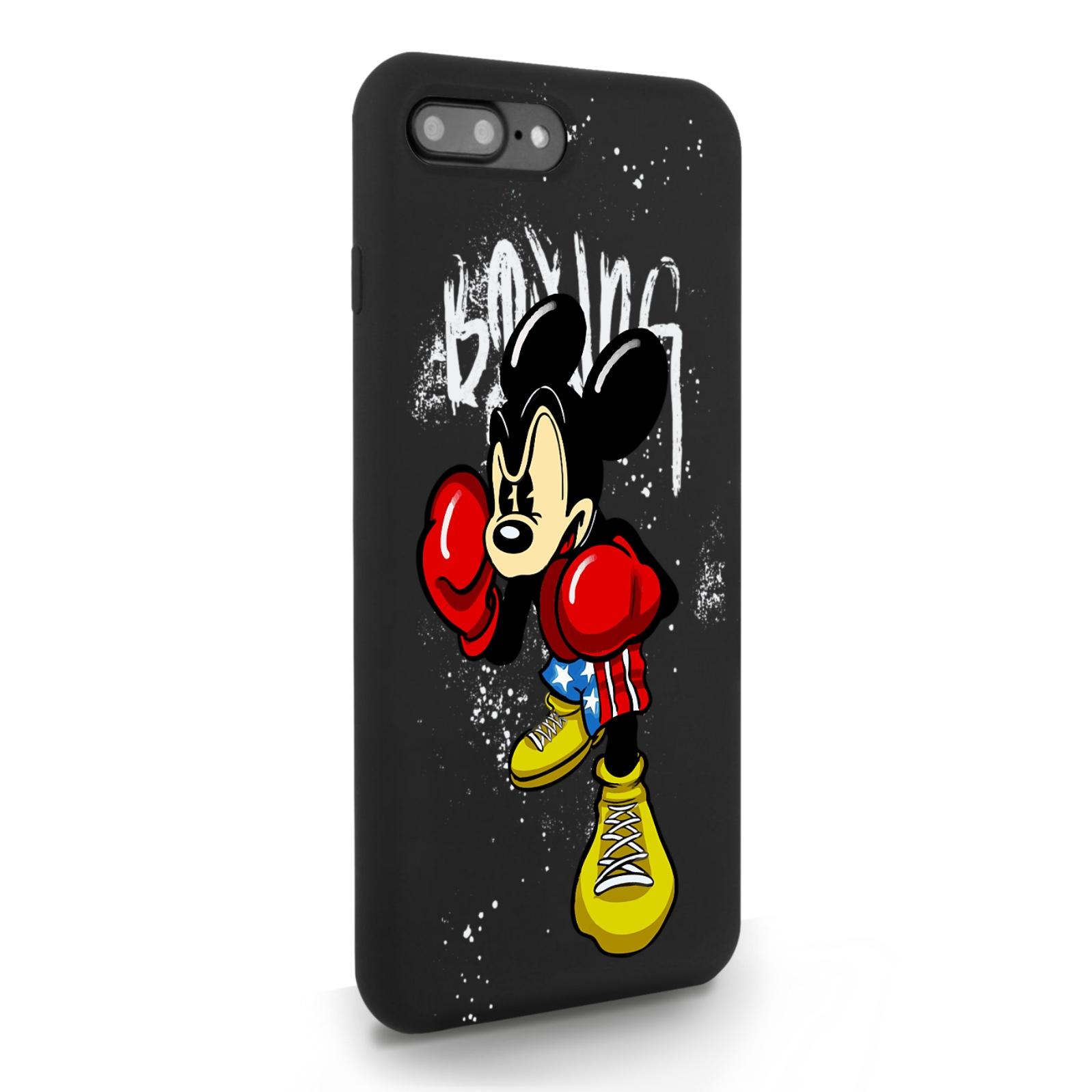 Черный силиконовый чехол для iPhone 7/8 Plus Мышонок Боксер для Айфон 7/8 Плюс