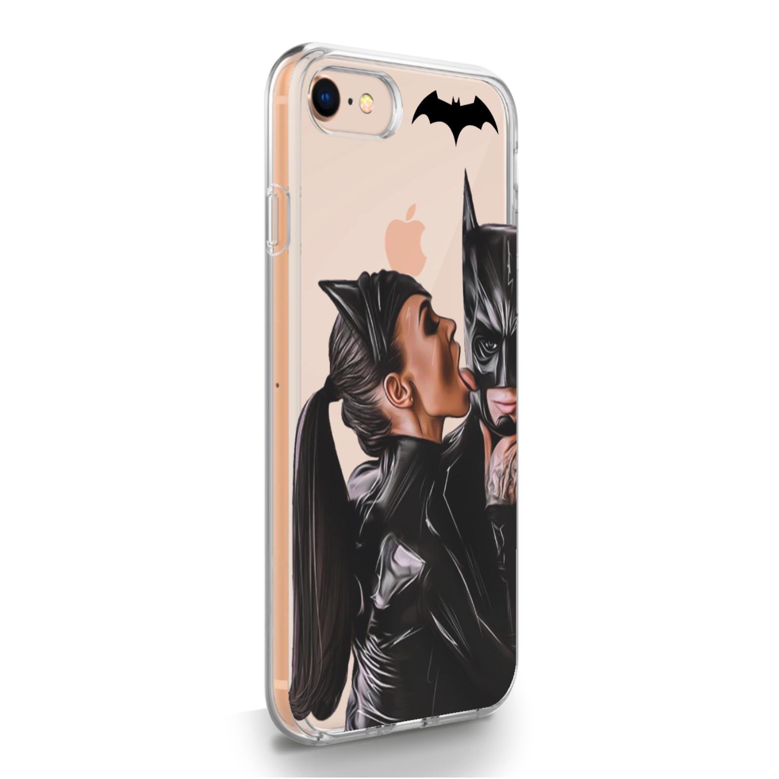 Прозрачный силиконовый чехол для iPhone 7/8/SE2020 Cat Woman/ Женщина кошка Брюнетка для Айфон 7/8/СЕ2020
