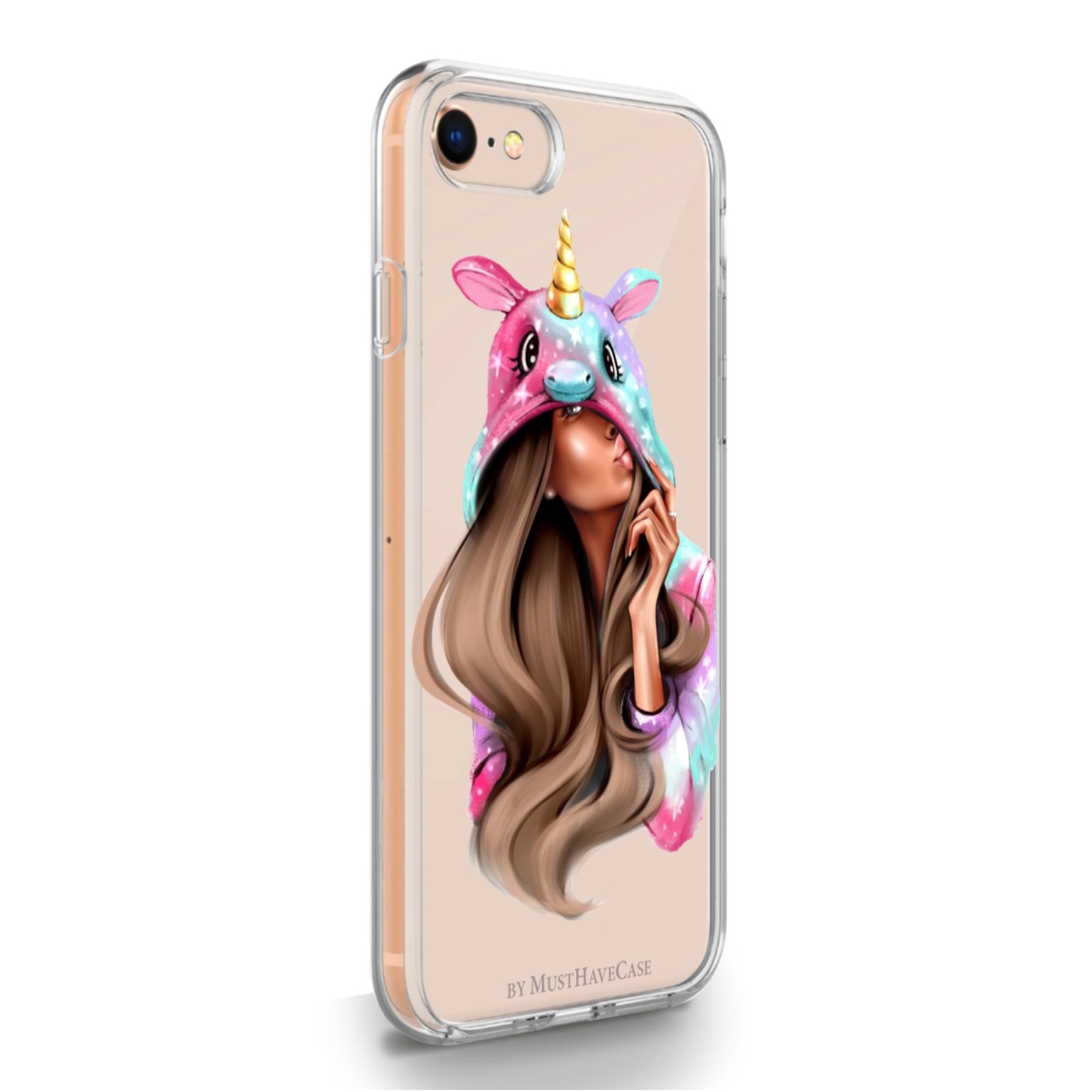 Прозрачный силиконовый чехол для iPhone 7/8/SE2020 Unicorn Girl для Айфон 7/8/СЕ2020