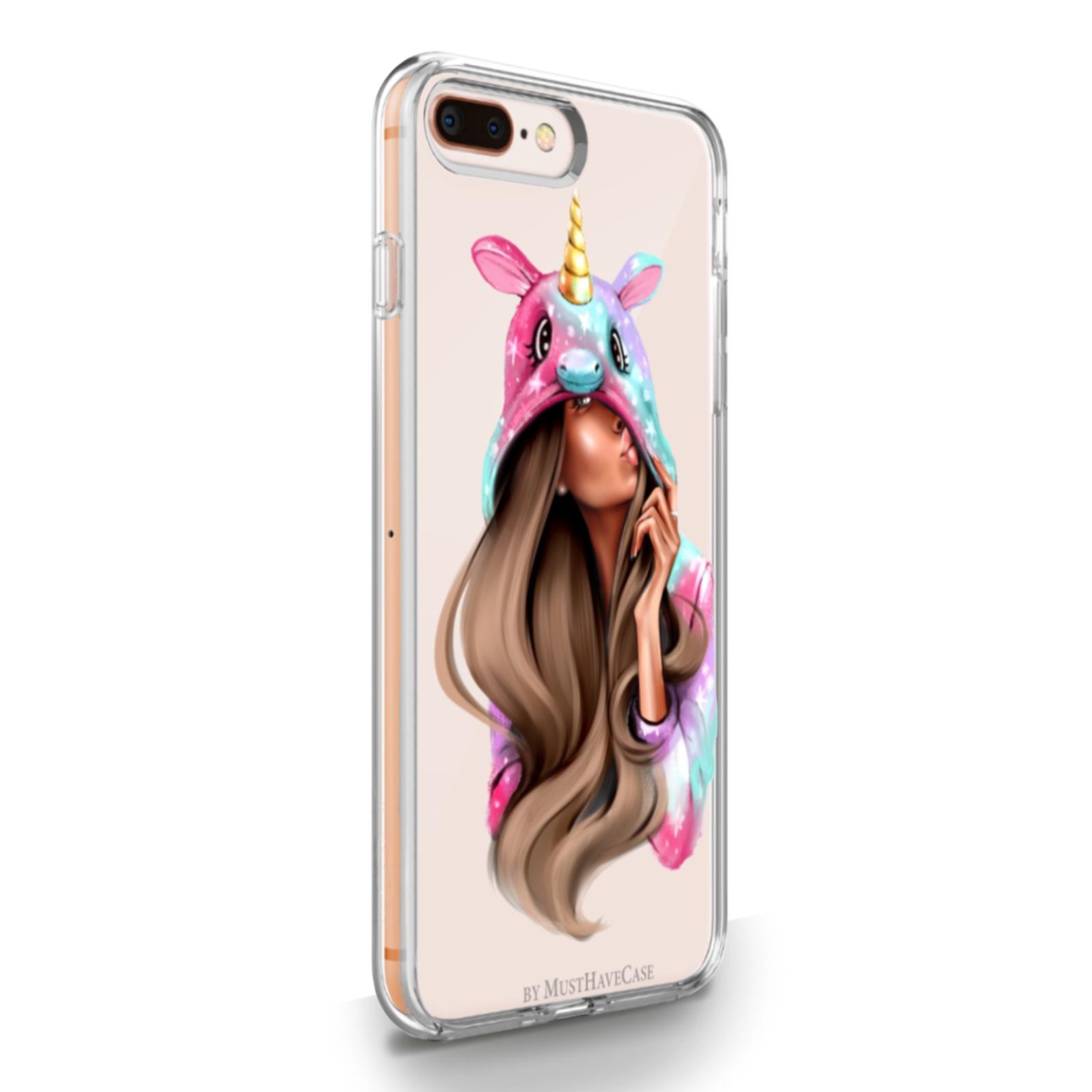 Прозрачный силиконовый чехол для iPhone 7/8 Plus Unicorn Girl для Айфон 7/8 Плюс