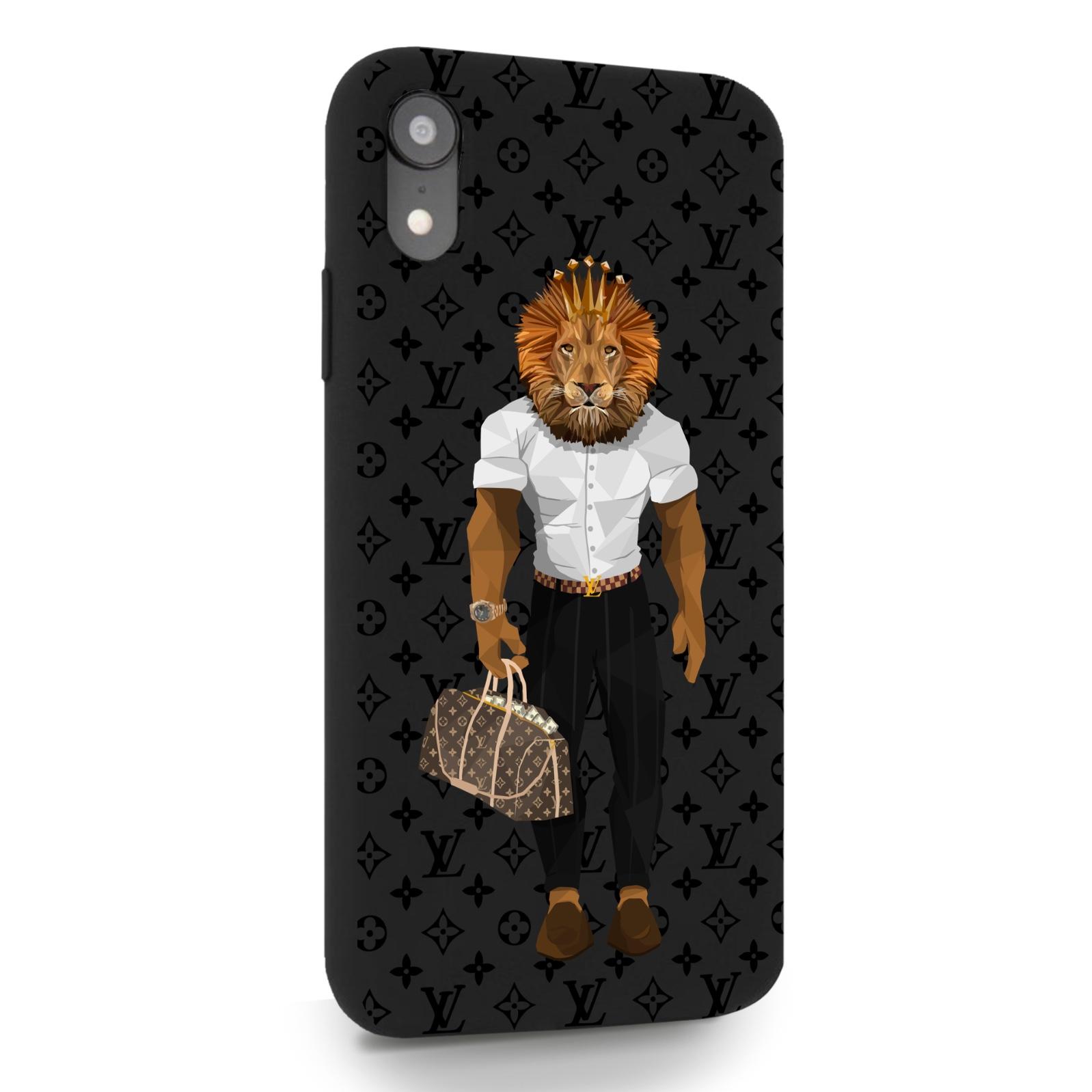 Черный силиконовый чехол для iPhone XR LV Lion для Айфон 10R