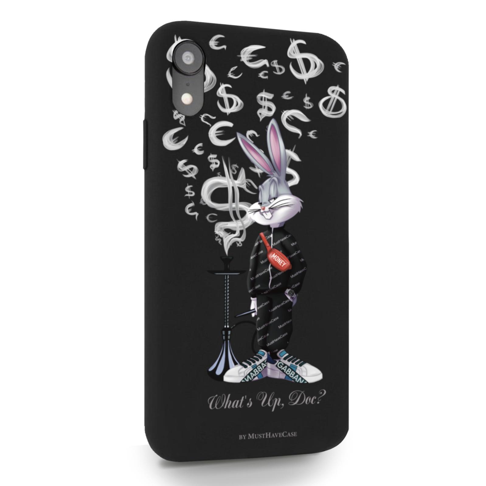 Черный силиконовый чехол для iPhone XR Mr. Rich Bunny Money Smoke/ Мистер Богатый Заяц Денежный Дым Айфон 10 R