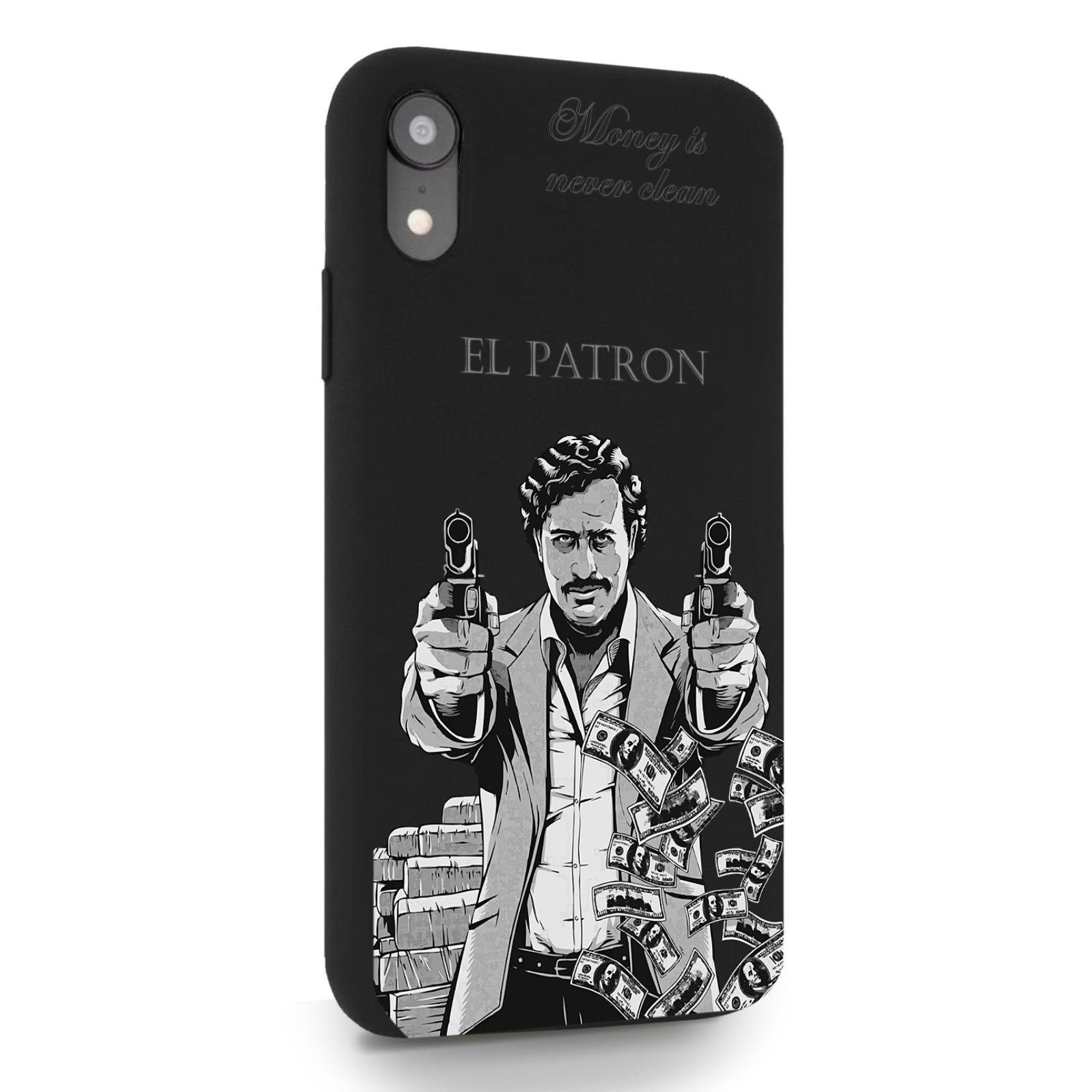 Черный силиконовый чехол для iPhone XR El Patron Pablo Escobar Пабло Эскобар для Айфон 10R