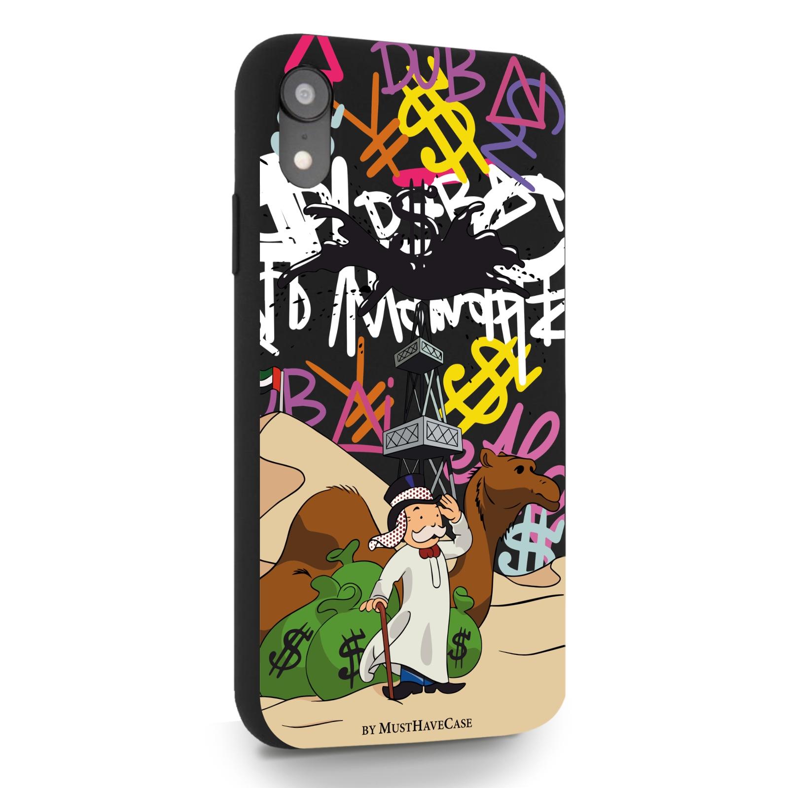 Черный силиконовый чехол для iPhone XR Monopoly Dubai/ Дубай для Айфон 10R
