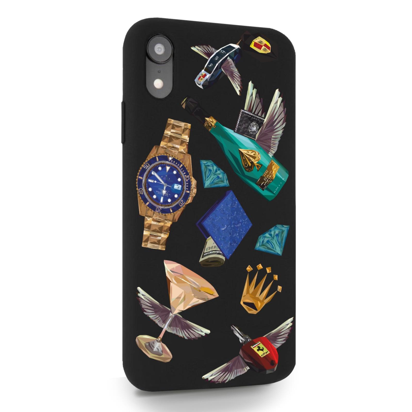Черный силиконовый чехол для iPhone XR Luxury lifestyle для Айфон 10R