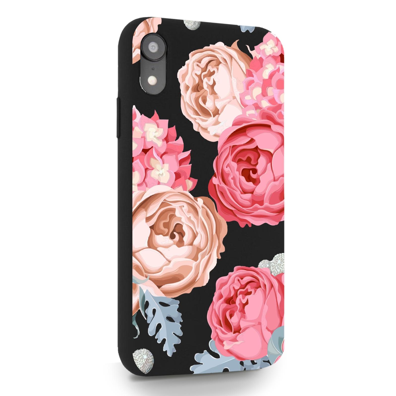 Черный силиконовый чехол для iPhone XR Пионы для Айфон 10R