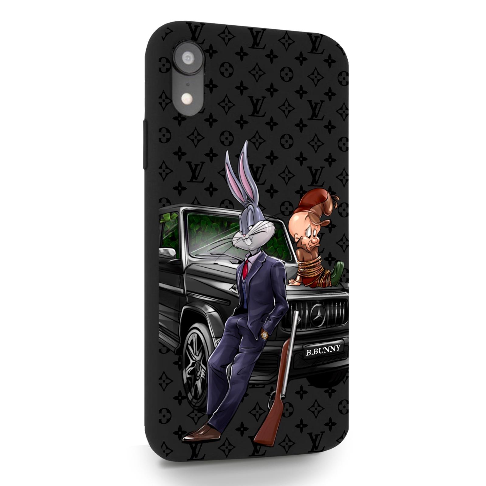 Черный силиконовый чехол для iPhone XR Мистер Богатый Заяц Бизнес/ Mr. Rich Bunny Business для Айфон 10R