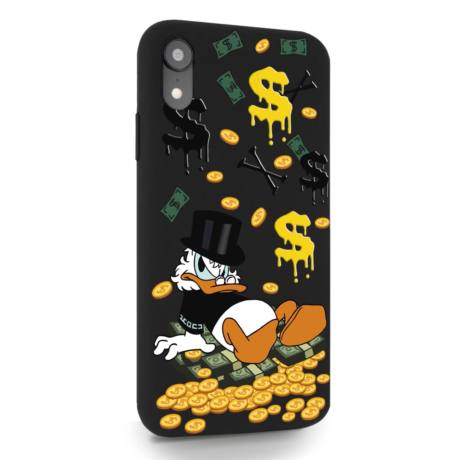 Черный силиконовый чехол для iPhone XR Богатенькая Утка для Айфон 10R