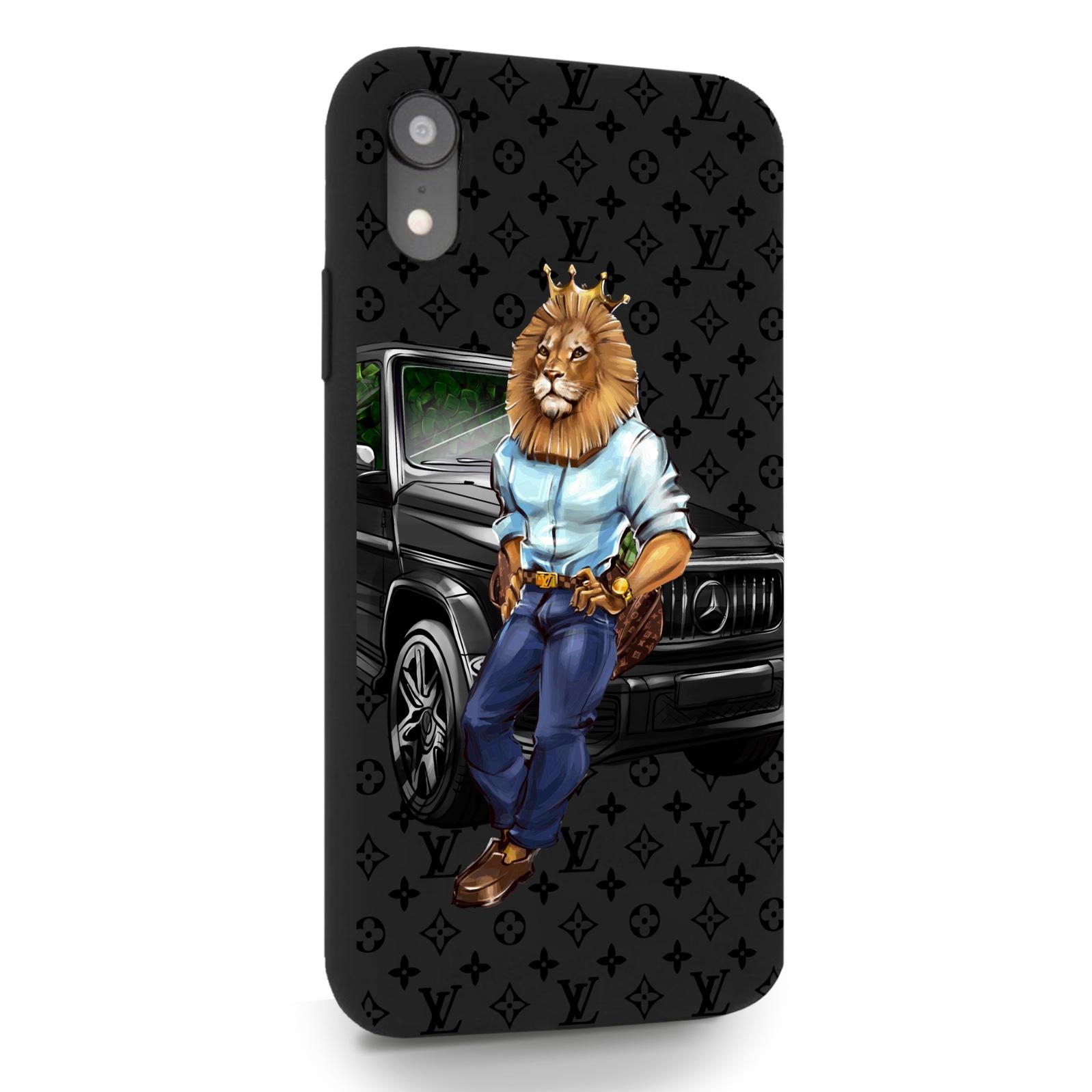 Черный силиконовый чехол для iPhone XR Lion Business для Айфон 10R