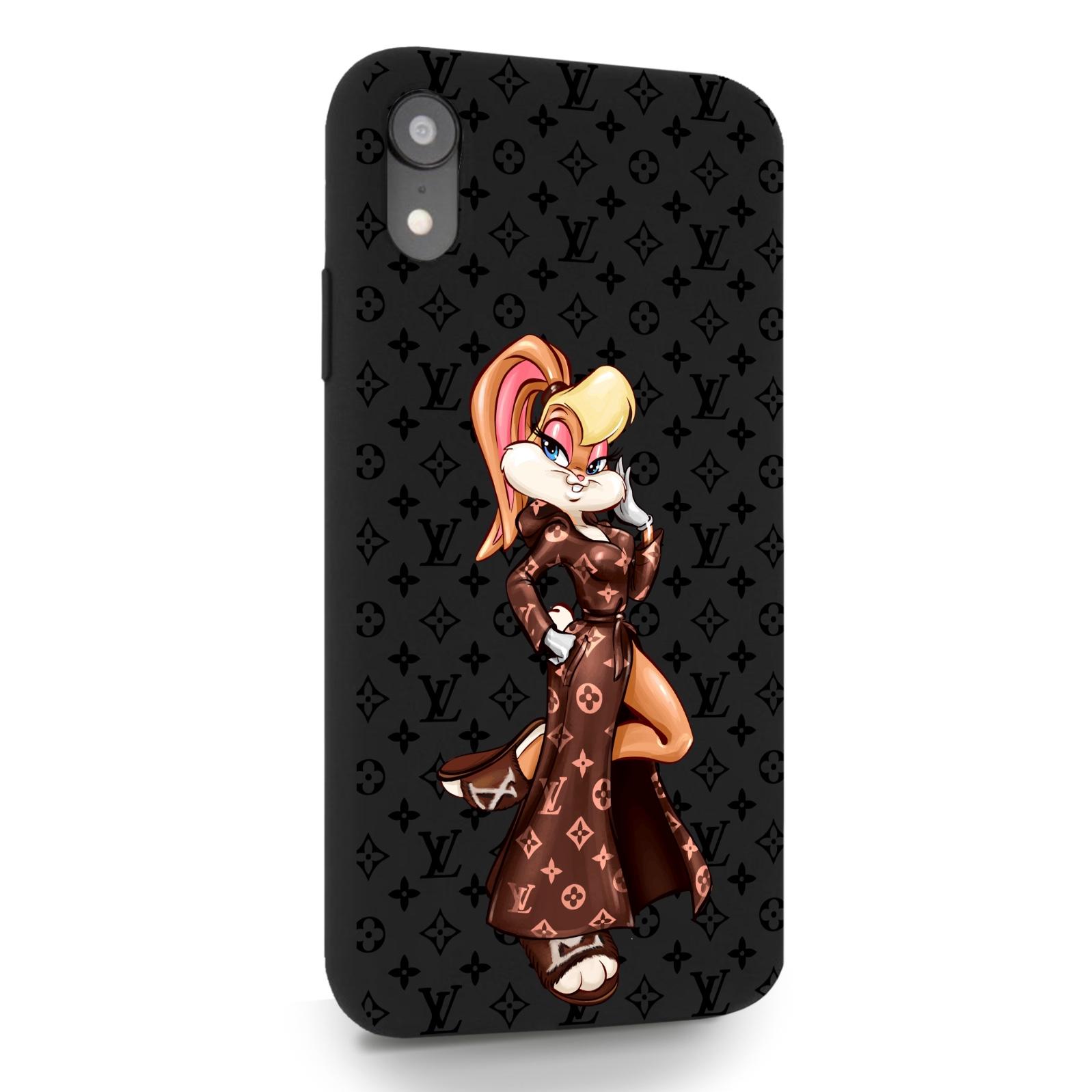 Черный силиконовый чехол для iPhone XR Миссис Богатая Зайка Релакс LV/ Mrs. Rich Bunny Relax LV для Айфон 10R