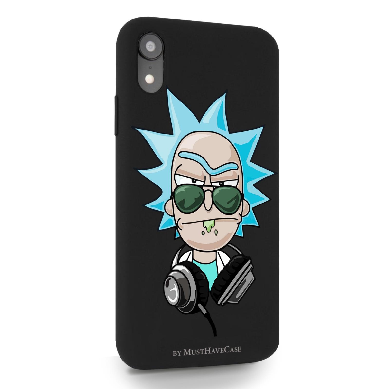 Черный силиконовый чехол для iPhone XR Rick/ Рик и Морти для Айфон 10R
