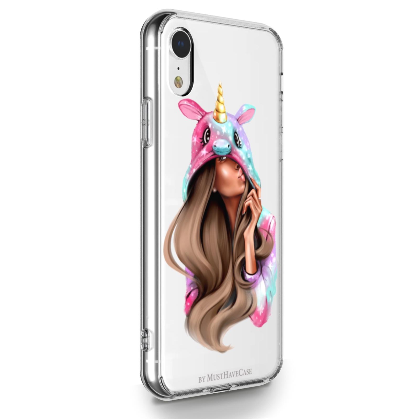 Прозрачный силиконовый чехол для iPhone XR Unicorn Girl для Айфон 10R