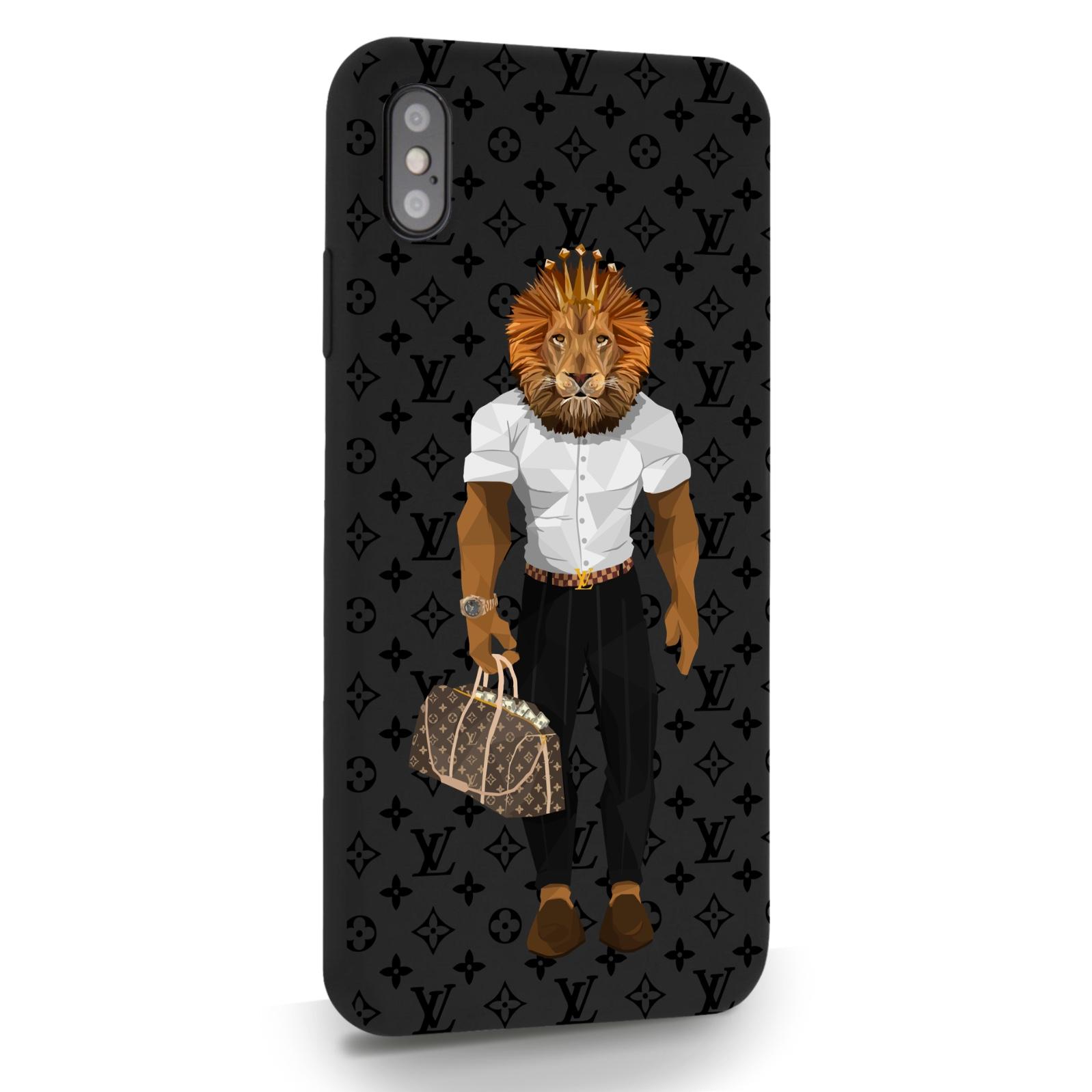 Черный силиконовый чехол для iPhone XS Max LV Lion для Айфон 10C Макс