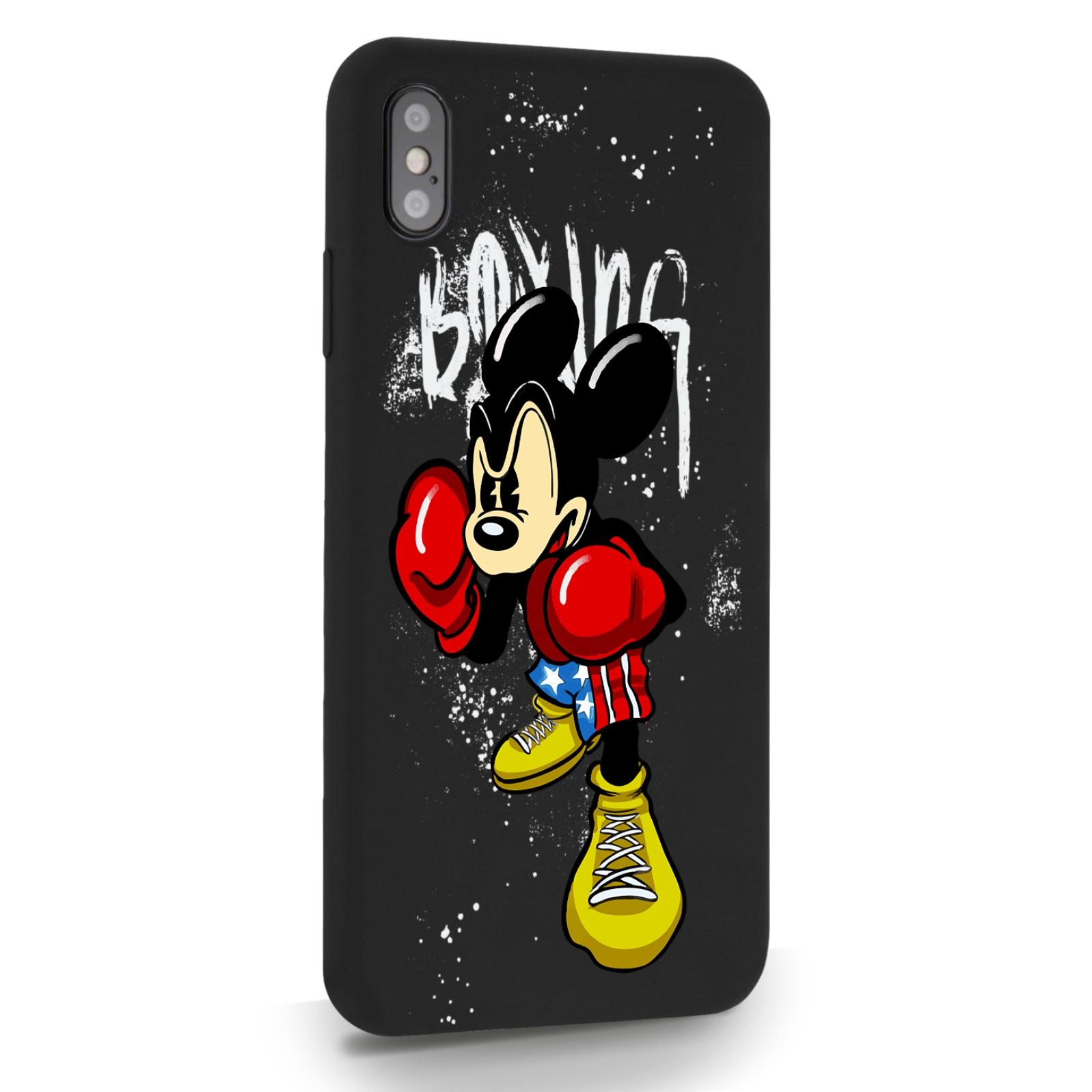Черный силиконовый чехол для iPhone XsMax Мышонок Боксер для Айфон 10С Макс