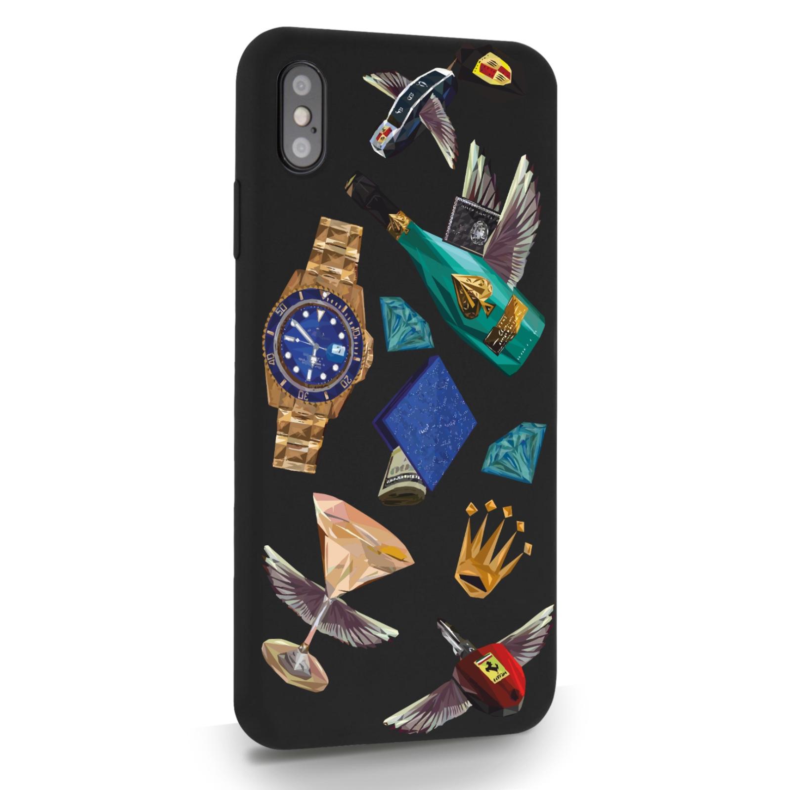 Черный силиконовый чехол для iPhone XS Max Luxury lifestyle для Айфон 10C Макс