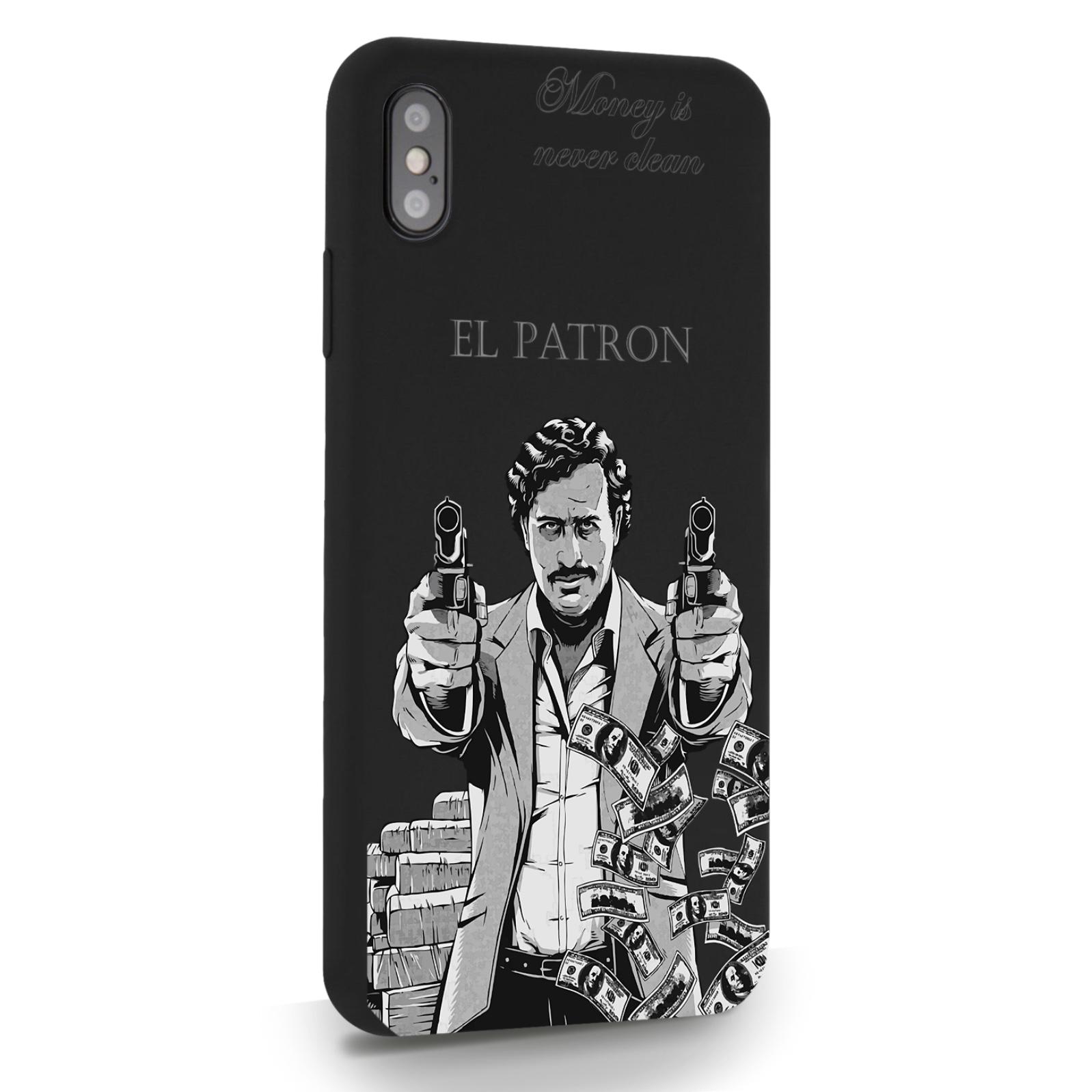 Черный силиконовый чехол для iPhone XsMax El Patron Pablo Escobar Пабло Эскобар для Айфон 10С Макс
