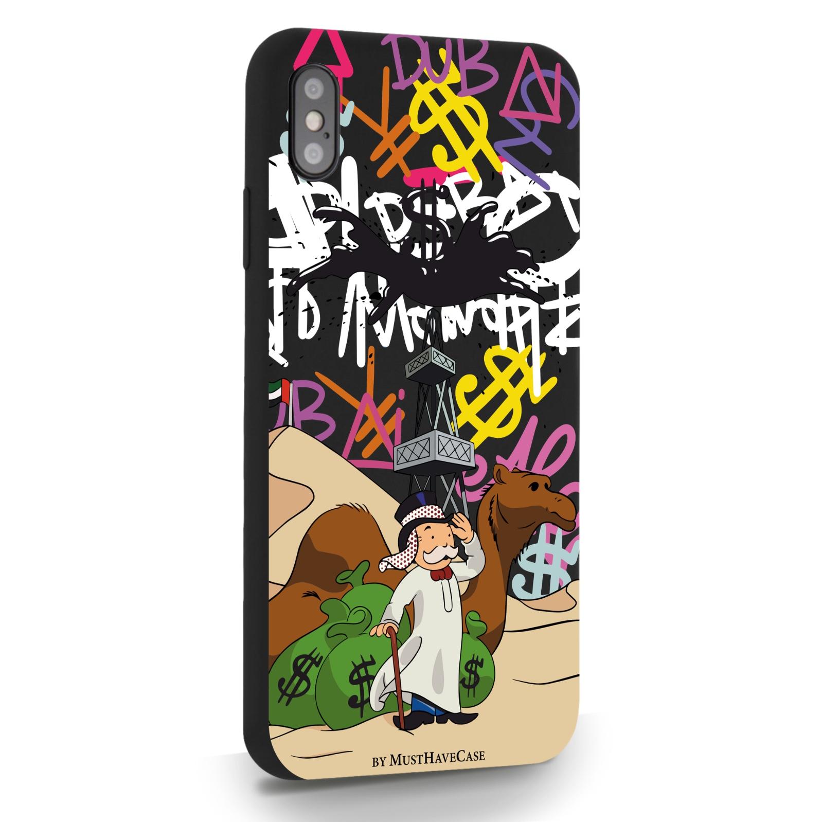 Черный силиконовый чехол для iPhone XsMax Monopoly Dubai/ Дубай для Айфон 10С Макс