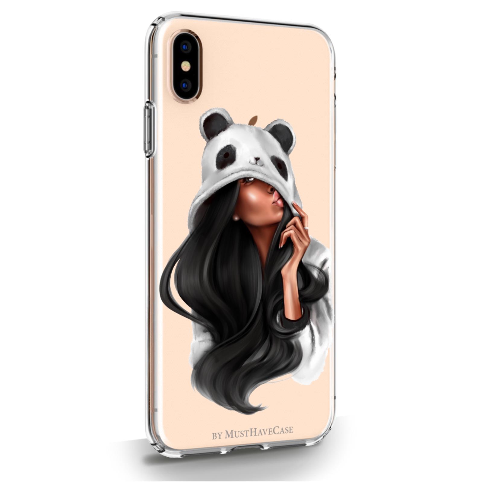 Прозрачный силиконовый чехол для iPhone XsMax Panda Girl/ Панда для Айфон 10С Макс