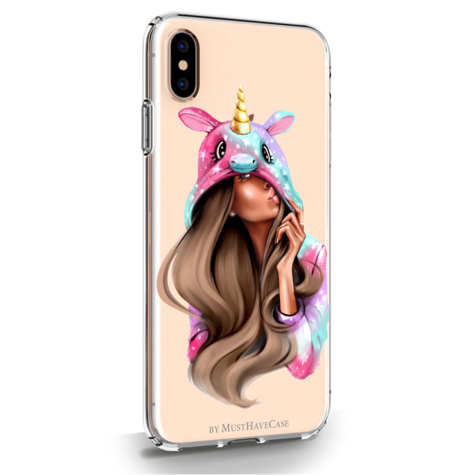 Прозрачный силиконовый чехол для iPhone XsMax Unicorn Girl для Айфон 10С Макс