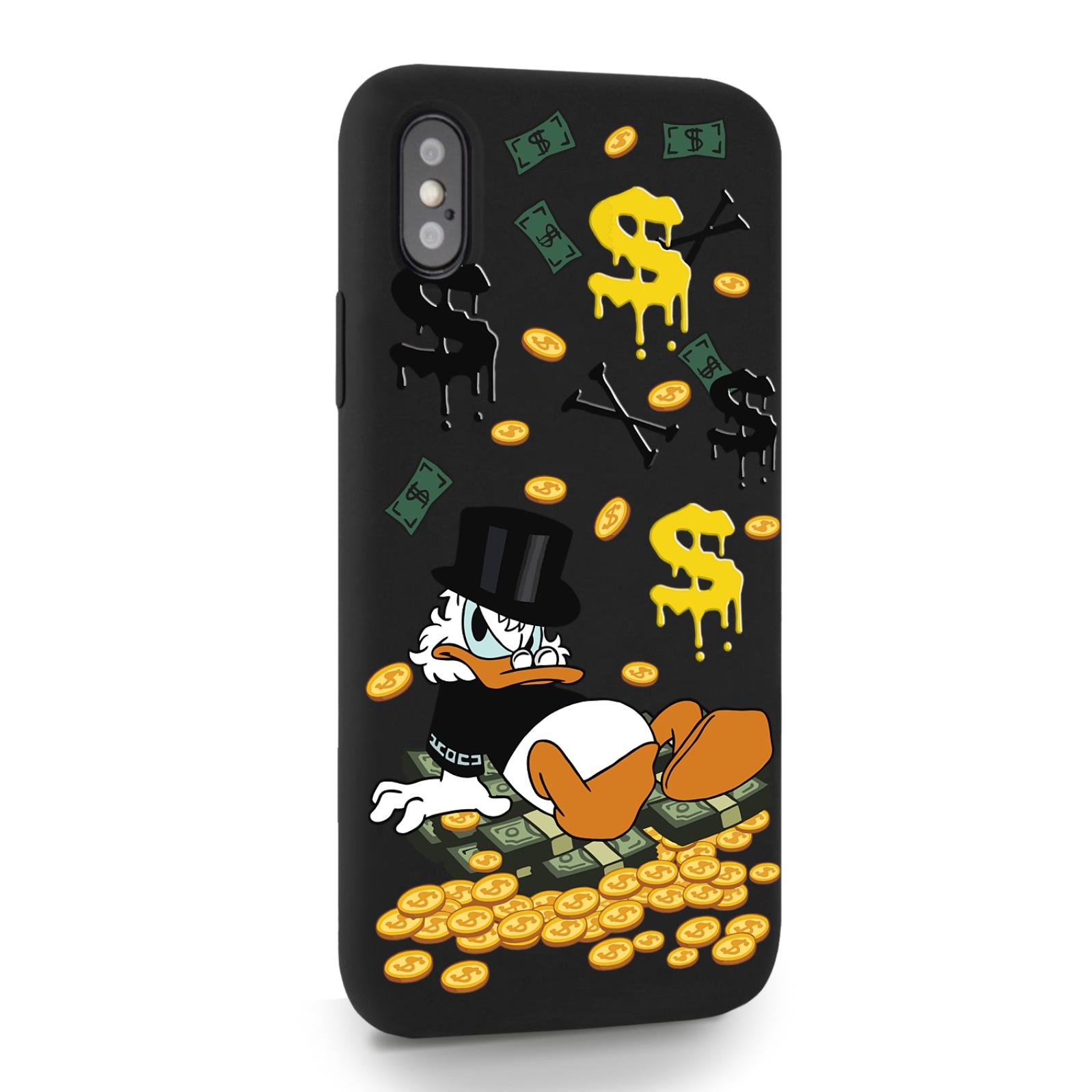 Черный силиконовый чехол для iPhone X/XS Богатенькая Утка для Айфон 10/10с
