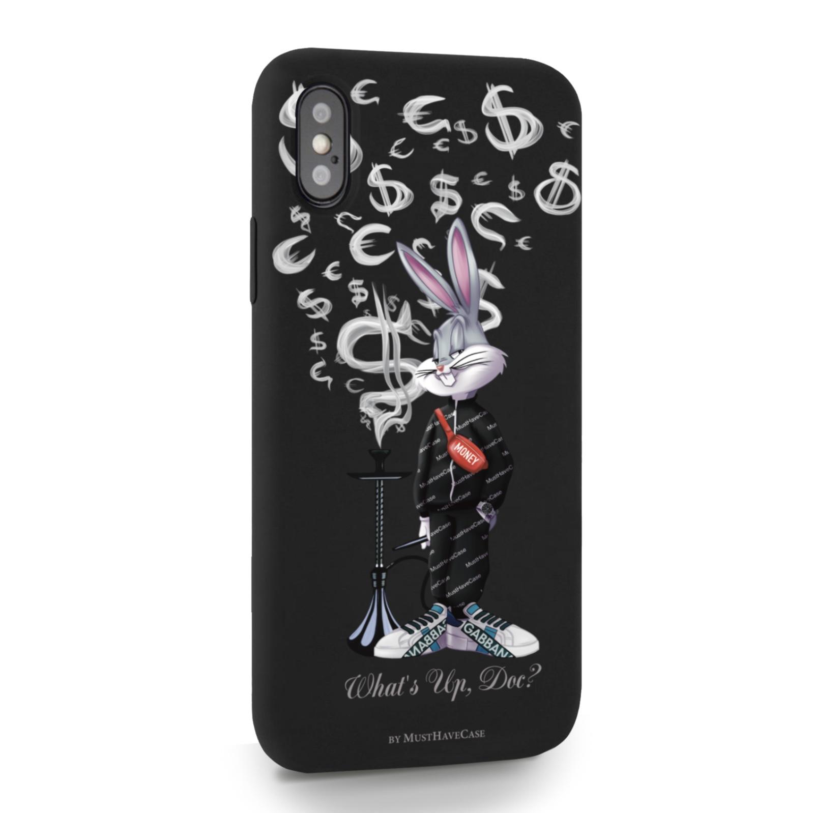 Черный силиконовый чехол для iPhone X/XS Mr. Rich Bunny Money Smoke/ Мистер Богатый Заяц Денежный Дым для Айфон 10/10с