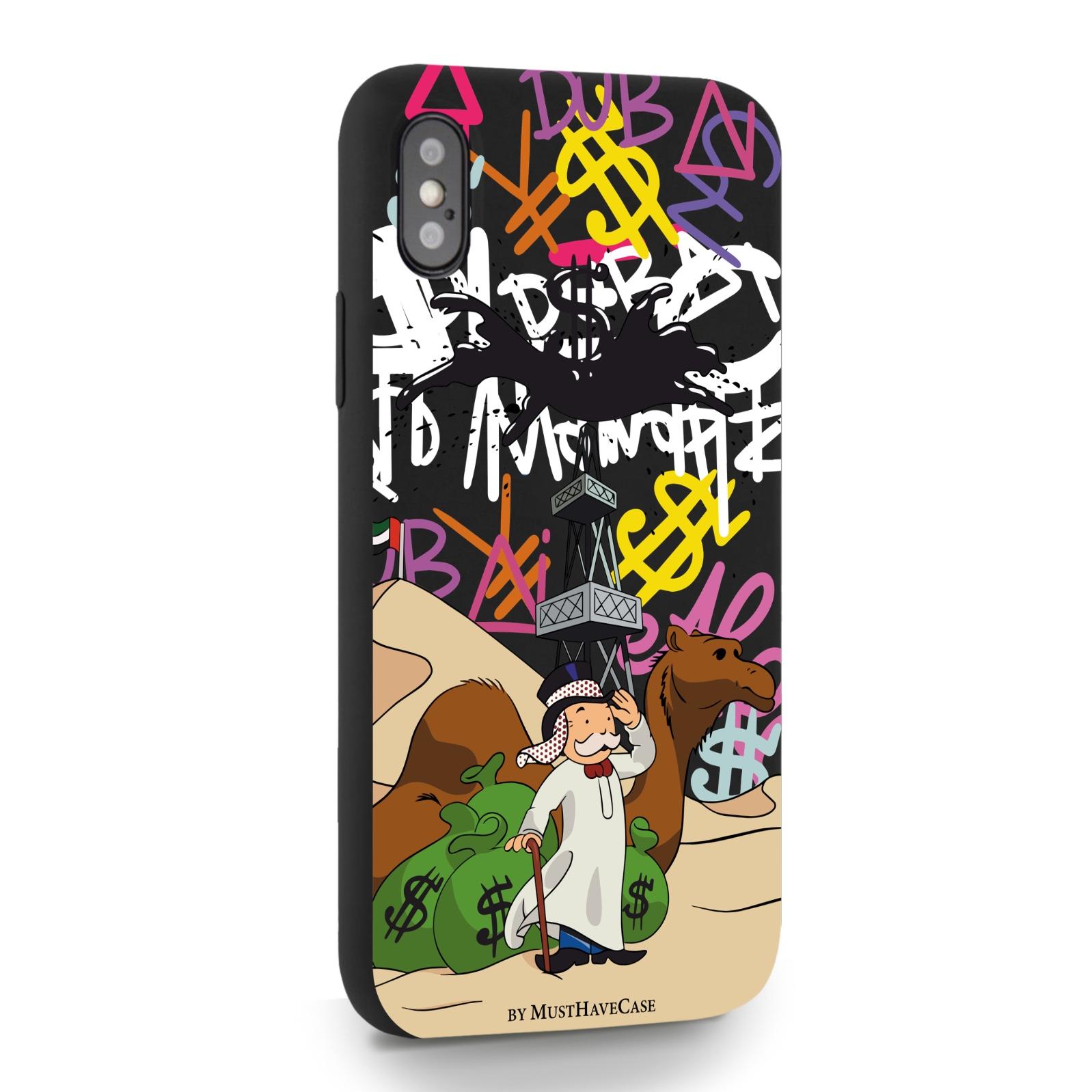 Черный силиконовый чехол для iPhone X/XS Monopoly Dubai/ Дубай для Айфон 10/10с