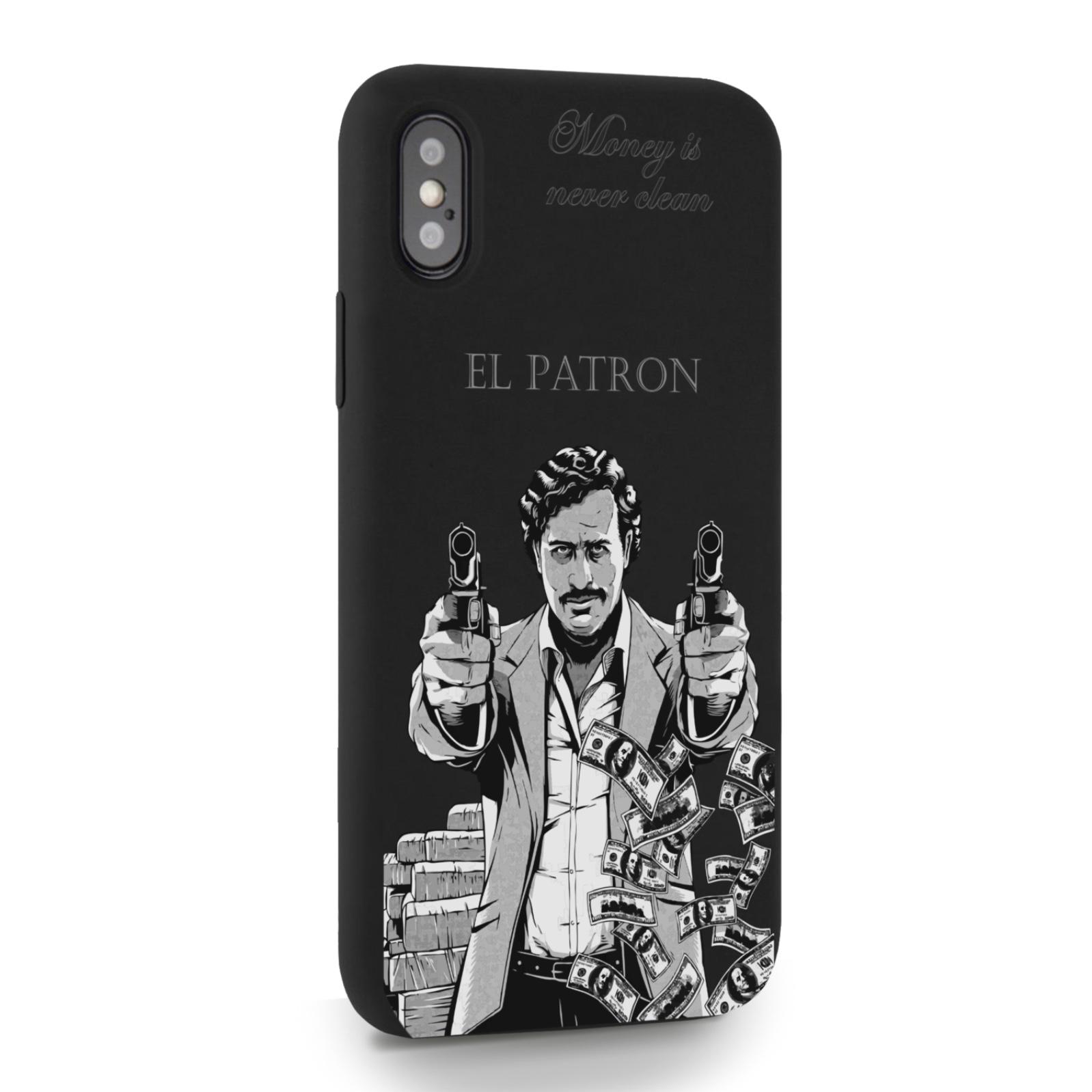 Черный силиконовый чехол для iPhone X/XS El Patron Pablo Escobar Пабло Эскобар для Айфон 10/10с