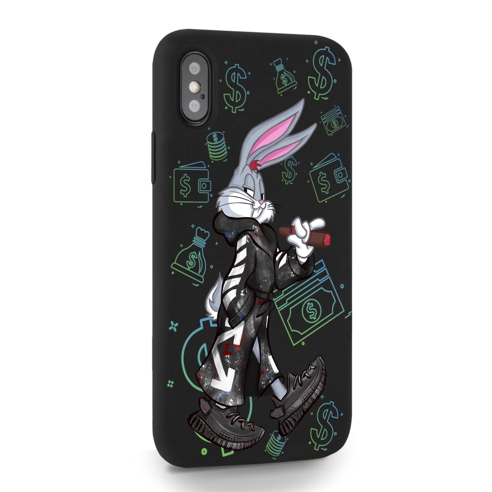 Черный силиконовый чехол для iPhone X/XS Mr. Rich Bunny Neon/ Мистер Богатый Заяц Неон для Айфон 10/10с