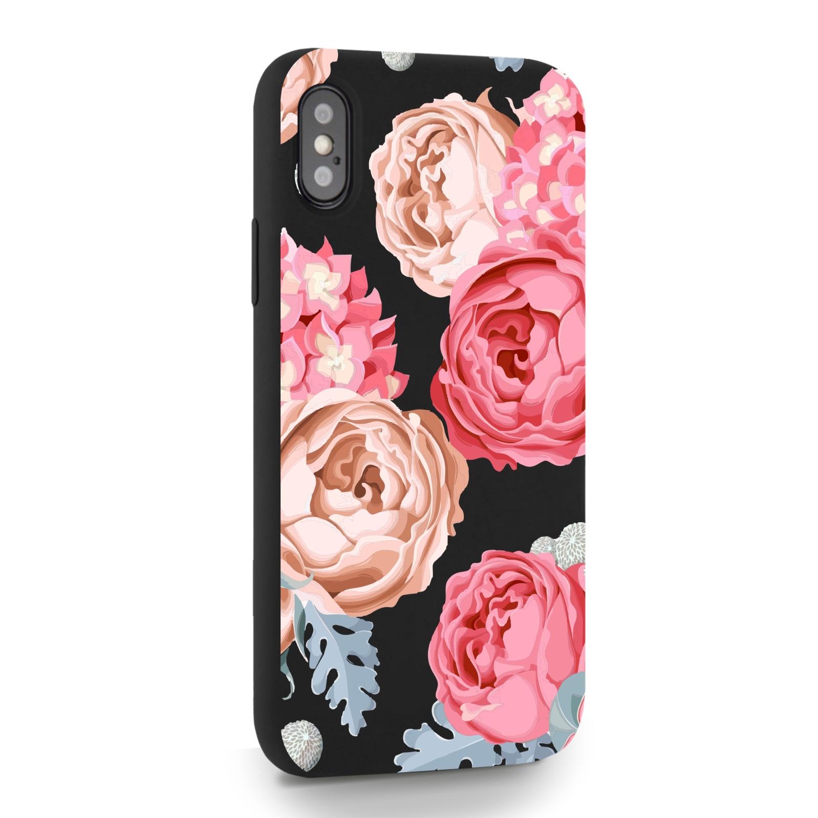 Черный силиконовый чехол для iPhone X/XS Пионы для Айфон 10/10с