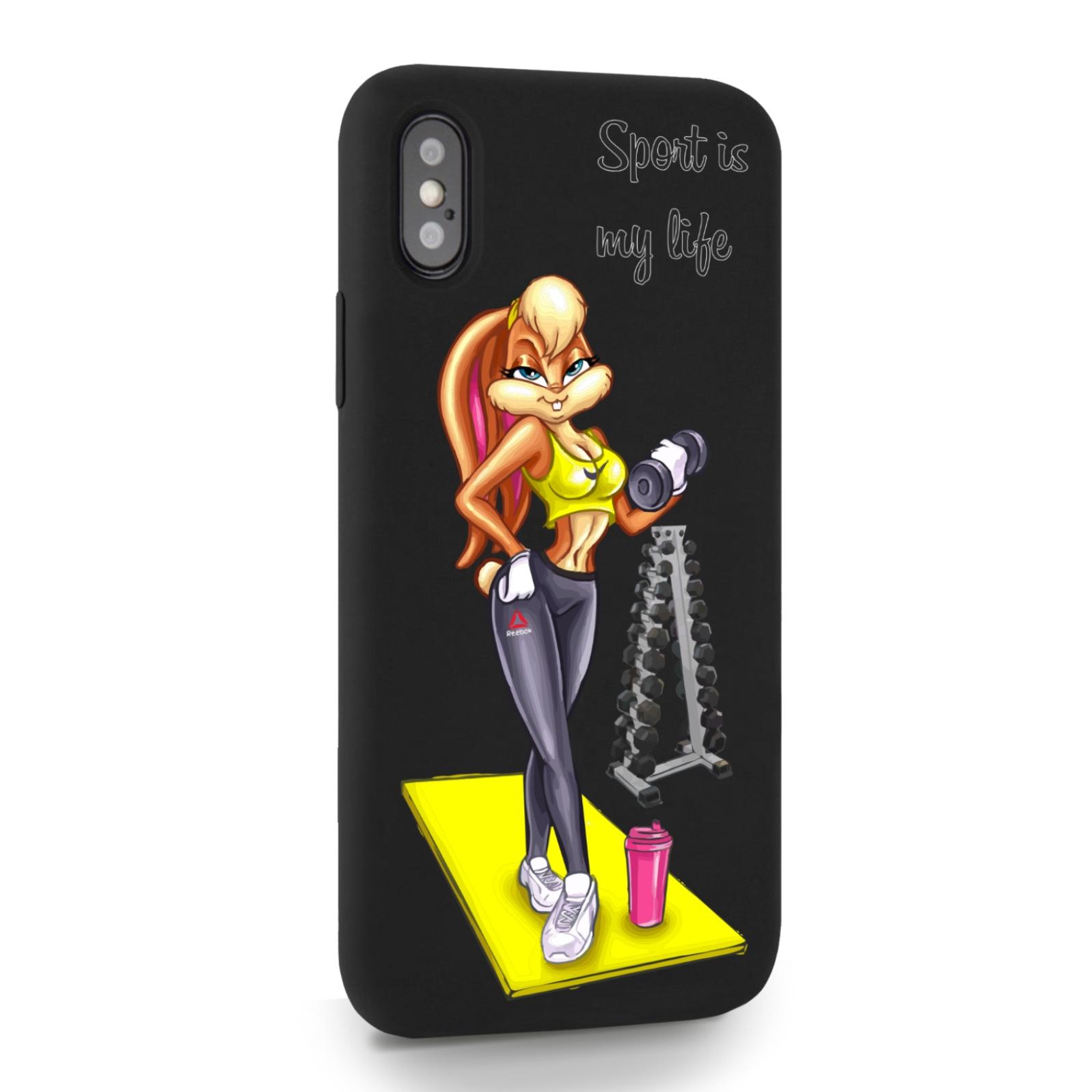 Черный силиконовый чехол для iPhone X/XS Спортивная Зайка для Айфон 10/10C