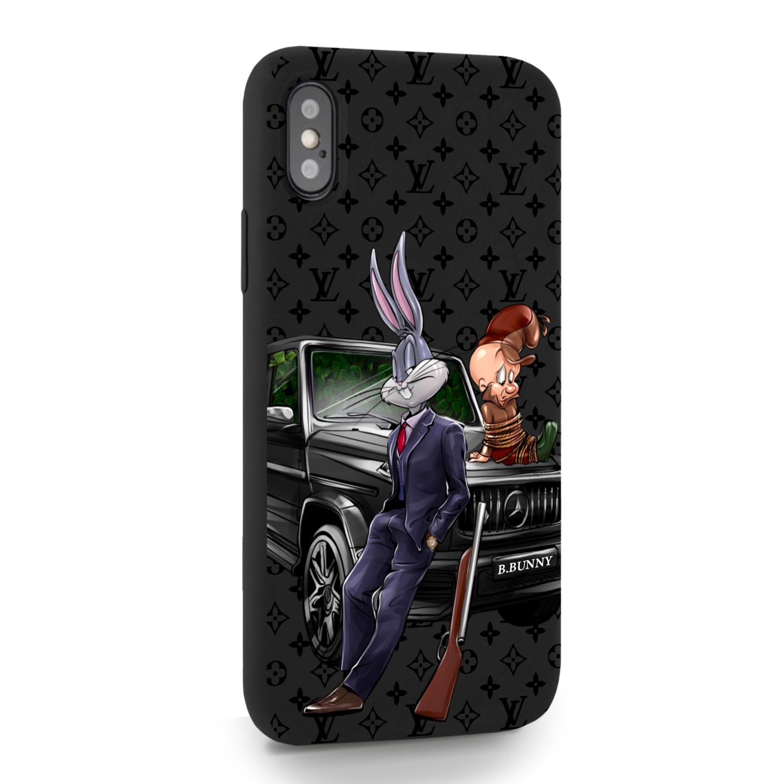 Черный силиконовый чехол для iPhone X/XS Мистер Богатый Заяц Бизнес/ Mr. Rich Bunny Business для Айфон 10/10с