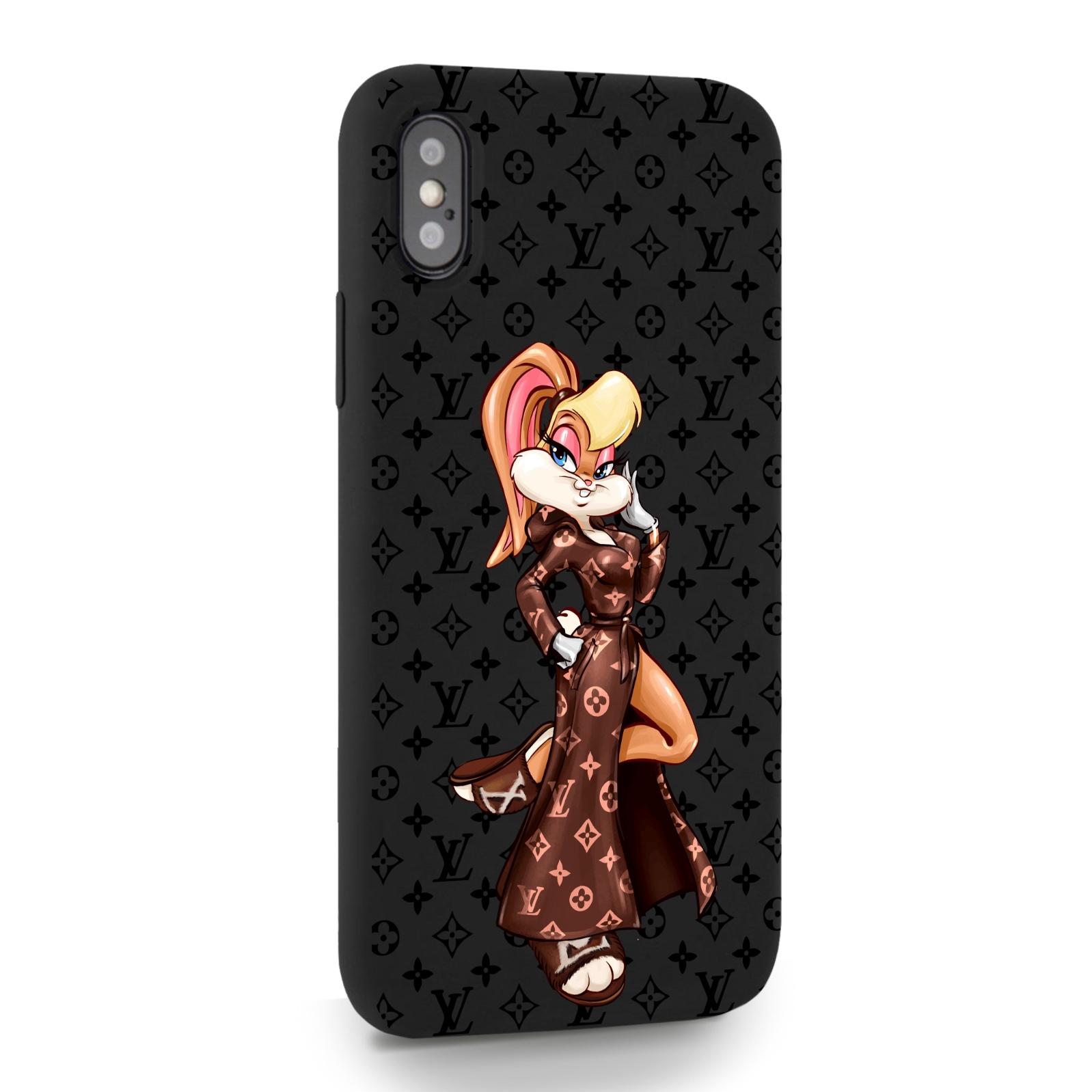 Черный силиконовый чехол для iPhone X/XS Миссис Богатая Зайка Релакс LV/ Mrs. Rich Bunny Relax LV для Айфон 10/10с