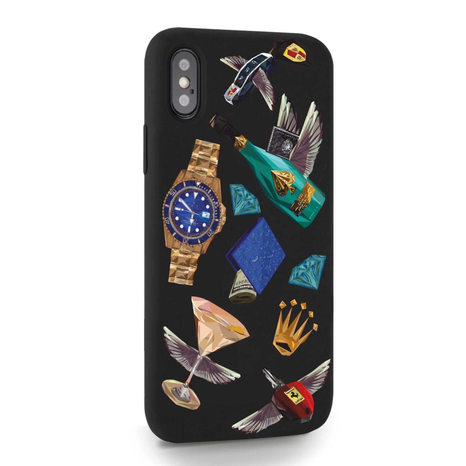 Черный силиконовый чехол для iPhone X/XS Luxury lifestyle для Айфон 10/10C