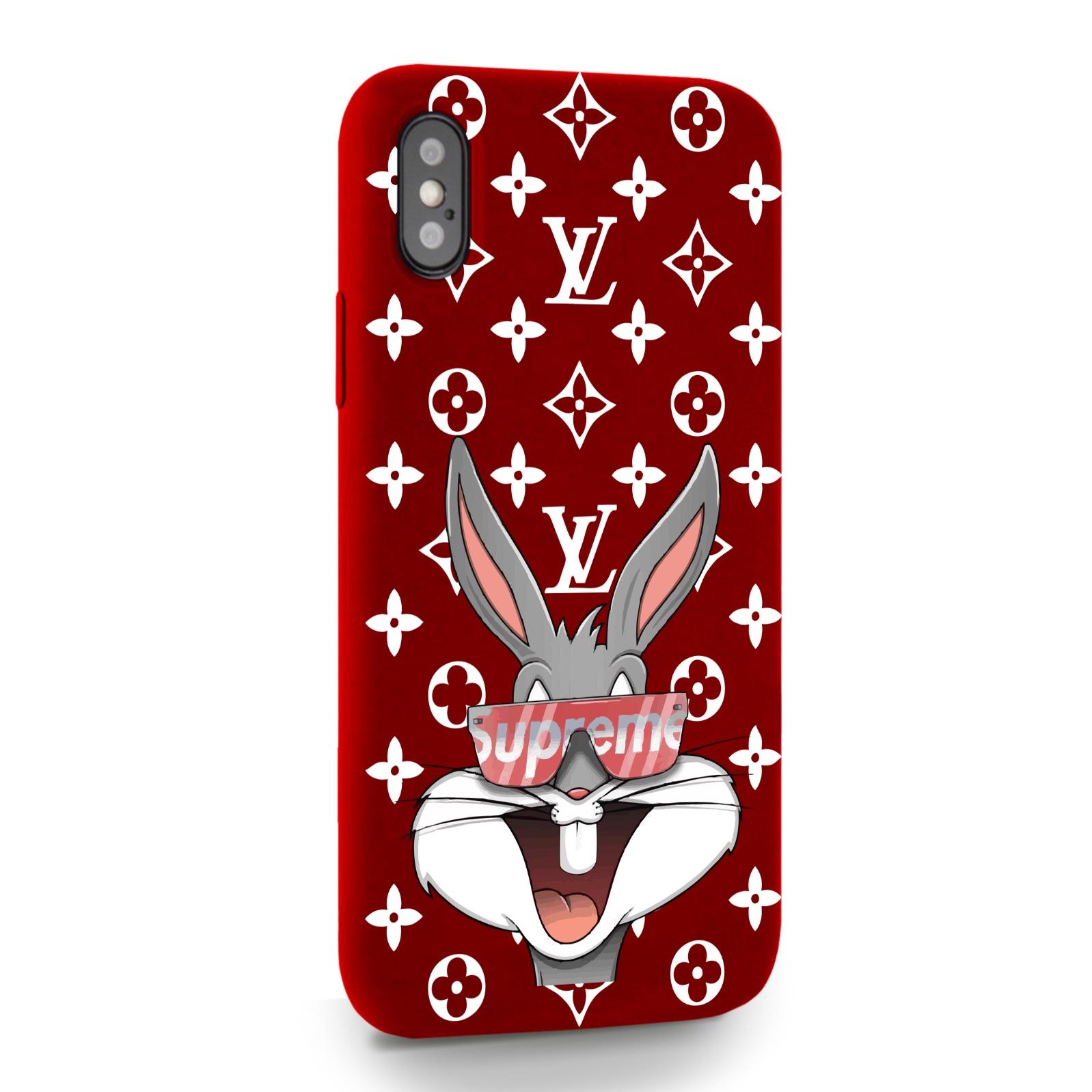 Красный силиконовый чехол для iPhone X/XS Мистер Богатый Заяц Supreme/ Mr. Rich Bunny Supreme для Айфон 10/10с