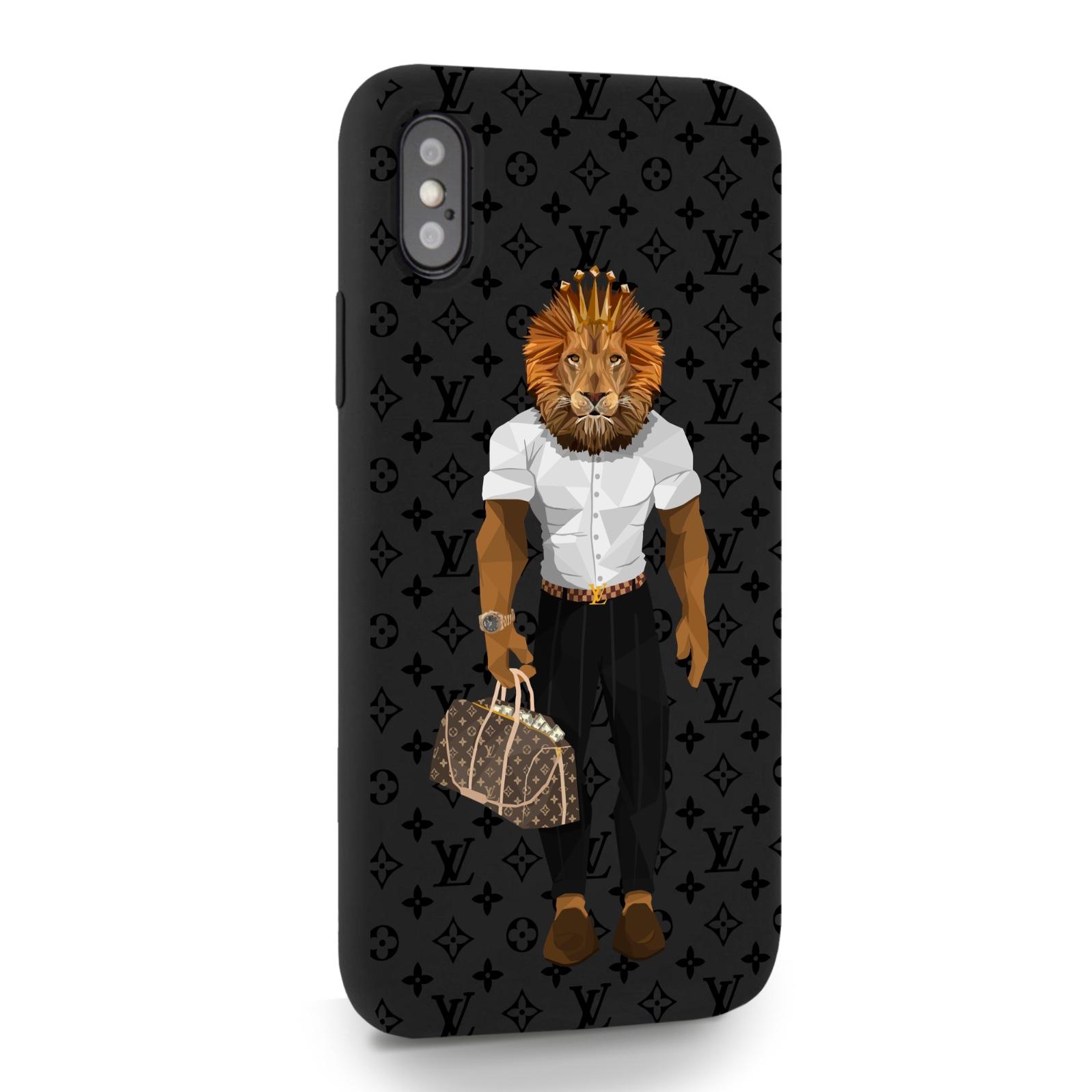 Черный силиконовый чехол для iPhone X/XS LV Lion для Айфон 10/10с