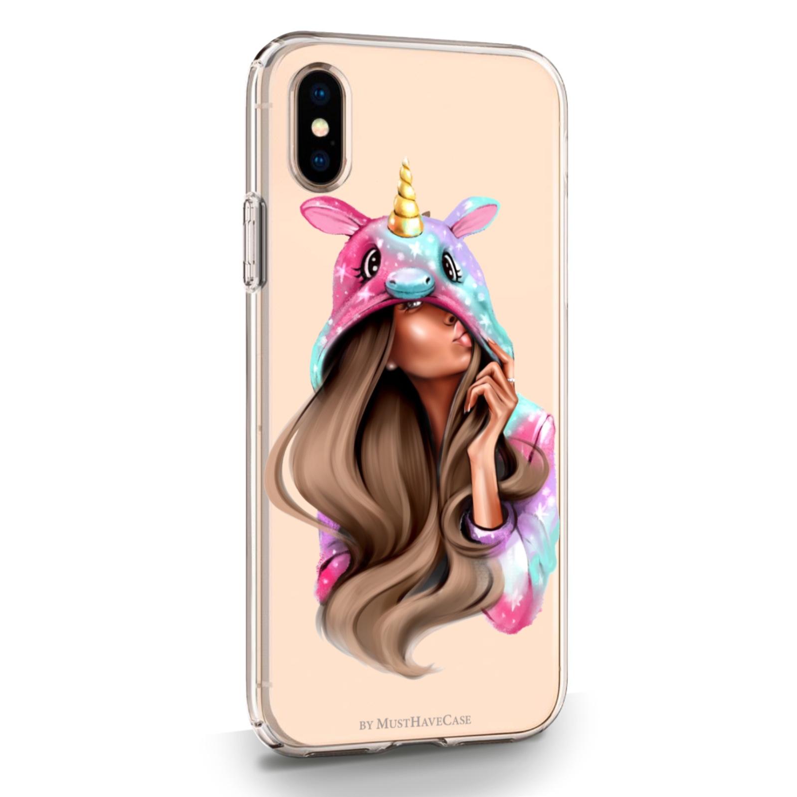 Прозрачный силиконовый чехол для iPhone X/XS Unicorn Girl для Айфон 10/10C