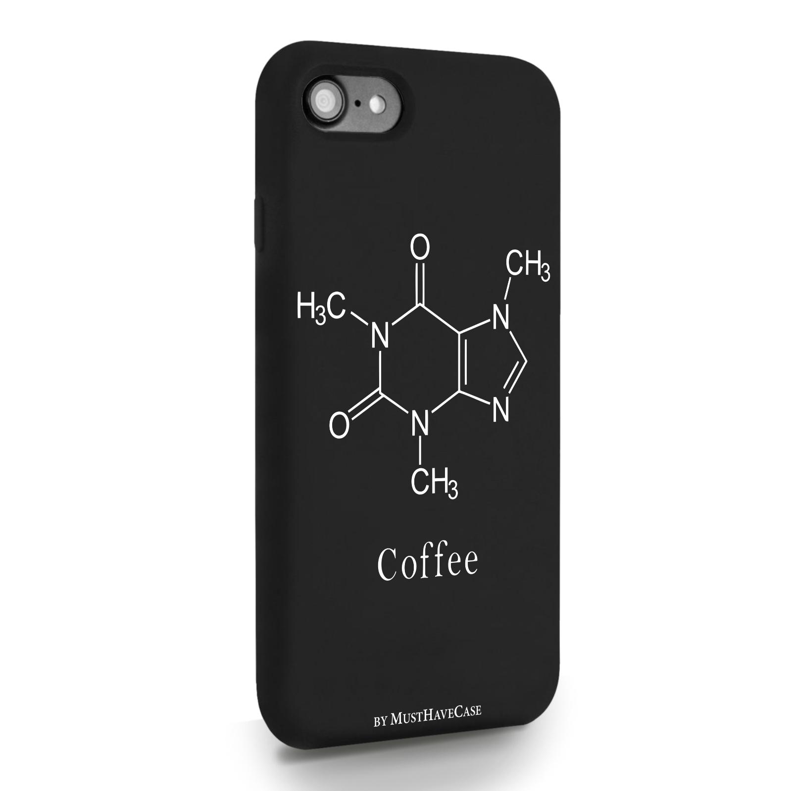 Черный силиконовый чехол для iPhone 7/8/SE2020 Молекула кофе для Айфон 7/8/СЕ2020