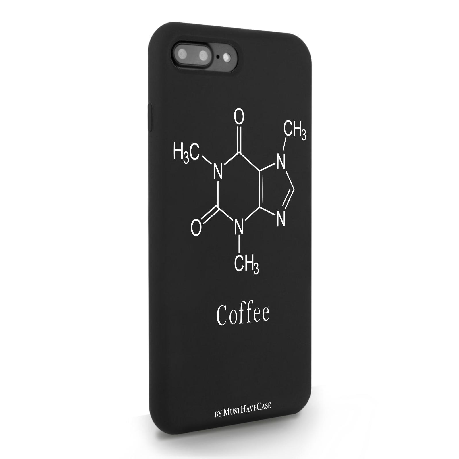 Черный силиконовый чехол для iPhone 7/8 Plus Молекула кофе для Айфон 7/8 Плюс